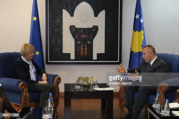 SecretaryGeneral European External Action Service Helga Maria Schmid meets Prime Minister of Kosovo Ramush Haradinaj in Pristina Kosovo on October 26...