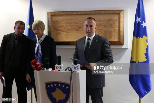 SecretaryGeneral European External Action Service Helga Maria Schmid and Prime Minister of Kosovo Ramush Haradinaj hold a press conference after...