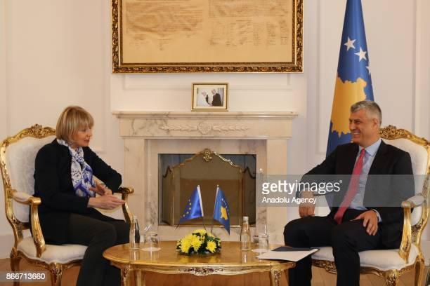 SecretaryGeneral European External Action Service Helga Maria Schmid meets President of Kosovo Hashim Thaci in Pristina Kosovo on October 26 2017