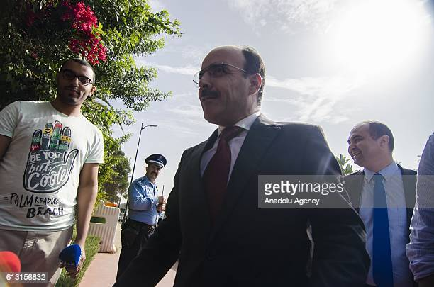 SecretaryGeneral Ilyas ElOmari of the Party of Authenticity and Modernity arrives at a polling station to cast his vote during the Parliamentary...