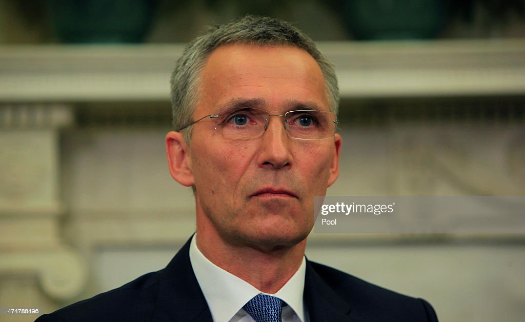Secretary-General Jens Stoltenberg speaks while meeting with U.S. President Barack Obama in the Oval Office of the White House on May 26,2015 in Washington, DC. Obama said the United States is working closely with NATO in the fight against ISIL .