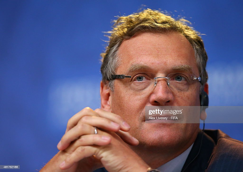 Secretary-General <a gi-track='captionPersonalityLinkClicked' href=/galleries/search?phrase=Jerome+Valcke&family=editorial&specificpeople=4375385 ng-click='$event.stopPropagation()'>Jerome Valcke</a> listens to questions during the Post-meeting of Organising Committee for the FIFA World Cup press conference ahead of the preliminary draw of the 2018 FIFA World Cup in Russia at Konstantin Palace on July 24, 2015 in Saint Petersburg, Russia.