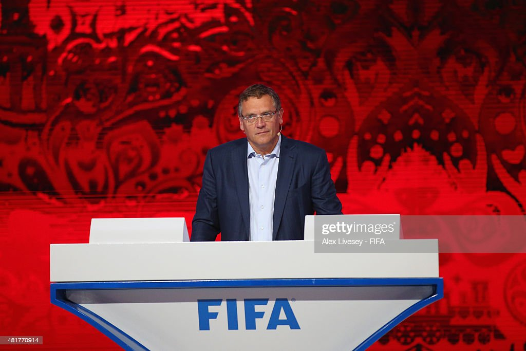 Secretary-General <a gi-track='captionPersonalityLinkClicked' href=/galleries/search?phrase=Jerome+Valcke&family=editorial&specificpeople=4375385 ng-click='$event.stopPropagation()'>Jerome Valcke</a> looks on during rehersals ahead of the preliminary draw of the 2018 FIFA World Cup in Russia at Konstantin Palace on July 24, 2015 in Saint Petersburg, Russia.