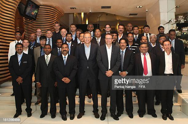 SecretaryGeneral Jerome Valcke poses with others members attending the FIFA seminar for SecretaryGeneral and Technical Directors on September 5 2012...
