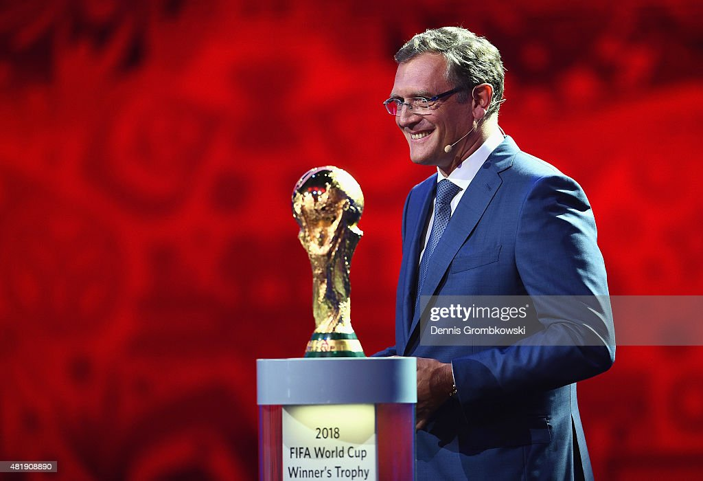 Secretary-General <a gi-track='captionPersonalityLinkClicked' href=/galleries/search?phrase=Jerome+Valcke&family=editorial&specificpeople=4375385 ng-click='$event.stopPropagation()'>Jerome Valcke</a> smiles during the Preliminary Draw of the 2018 FIFA World Cup in Russia at The Konstantin Palace on July 25, 2015 in Saint Petersburg, Russia.