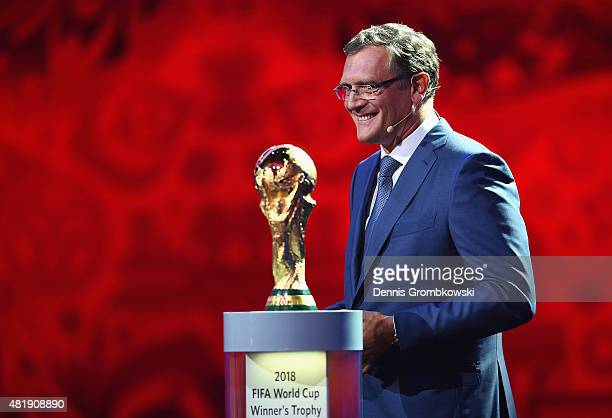 SecretaryGeneral Jerome Valcke smiles during the Preliminary Draw of the 2018 FIFA World Cup in Russia at The Konstantin Palace on July 25 2015 in...