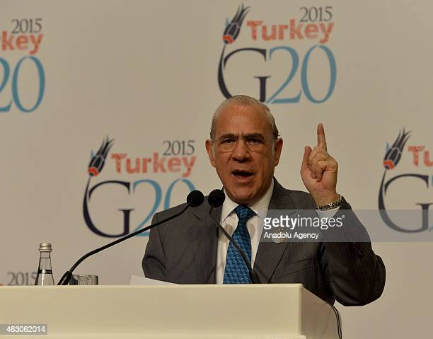 SecretaryGeneral Jose Angel Gurria speaks during the G20 Finance Ministers and Central Bank Governors Meeting in Istanbul Turkey on February 09 2015