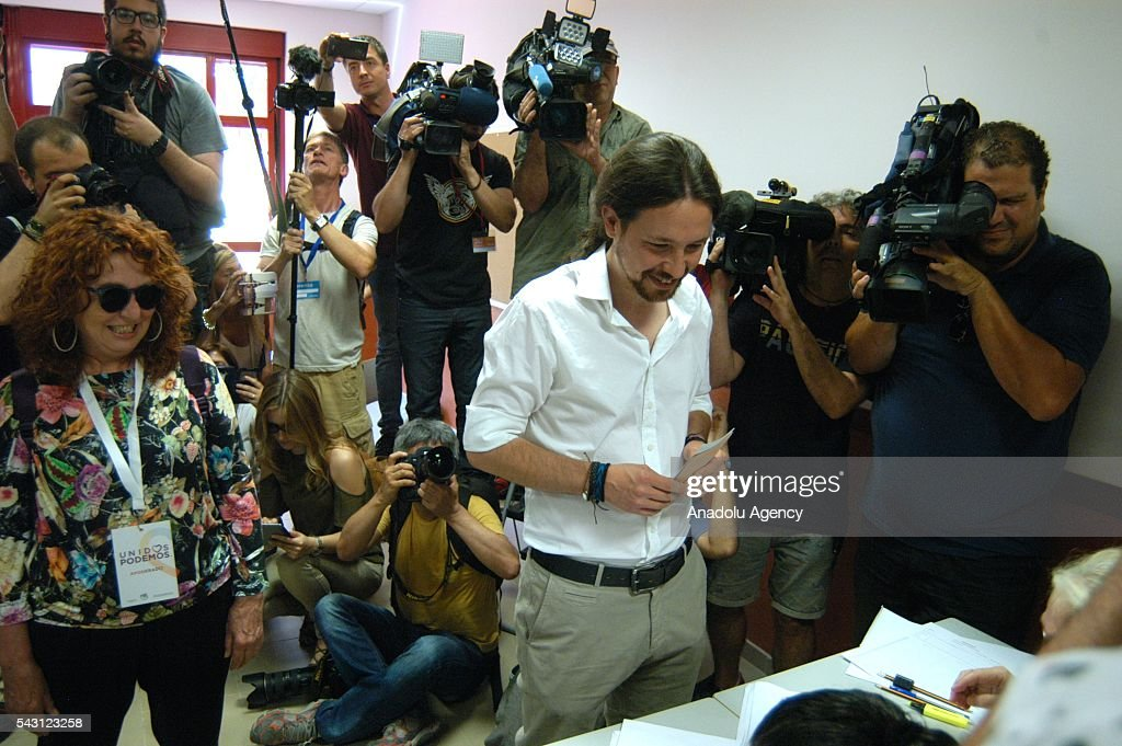 Secretary-General of Podemos Pablo Iglesias casts his ballot at a polling station during the Spanish general election in Madrid, Spain on June 26, 2016.