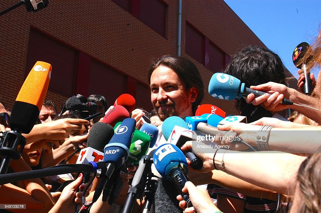 Secretary-General of Podemos Pablo Iglesias speaks to the media after casting his ballot at a polling station during the Spanish general election in Madrid, Spain on June 26, 2016.