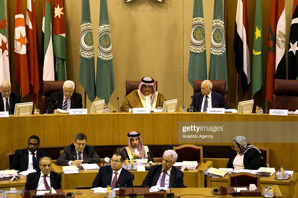 Secretary-General of the Arab League Nabil Elaraby (R) and Palestinian President Mahmood Abbas (2nd L) attend a meeting of Arab foreign ministers to discuss a French peace initiative in Cairo on May 28, 2016.