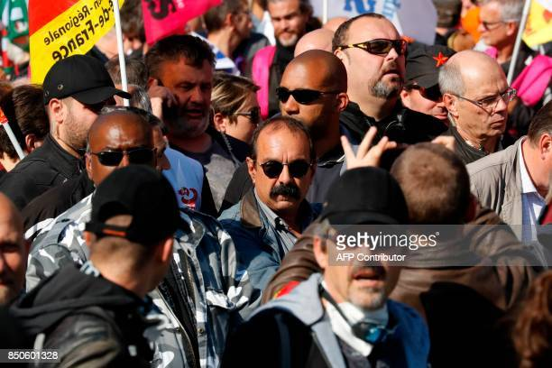 SecretaryGeneral of the General Confederation of Labour French worker's union Philippe Martinez attends a rally to protest the French government's...