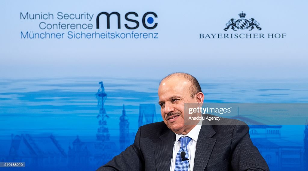 Secretary-General of the Gulf Cooperation Council Abdullatif bin Rashid Al Zayani speaks at the 2016 Munich Security Conference at the Bayerischer Hof hotel on February 14, 2016 in Munich, Germany. The annual event brings together government representatives and security experts from across the globe and this year the conflict in Syria will be the main issue under discussion.