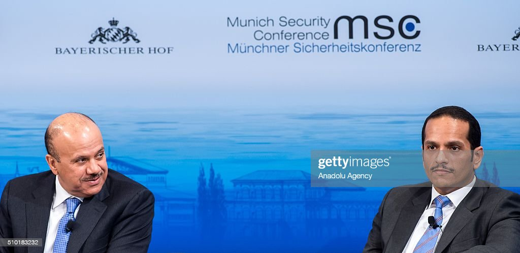 Secretary-General of the Gulf Cooperation Council Abdullatif bin Rashid Al Zayani (L) and Qatar's Foreign Minister Sheikh Mohammed bin Abdulrahman bin Jassim Al-Thani attend the 2016 Munich Security Conference at the Bayerischer Hof hotel on February 14, 2016 in Munich, Germany. The annual event brings together government representatives and security experts from across the globe and this year the conflict in Syria will be the main issue under discussion.