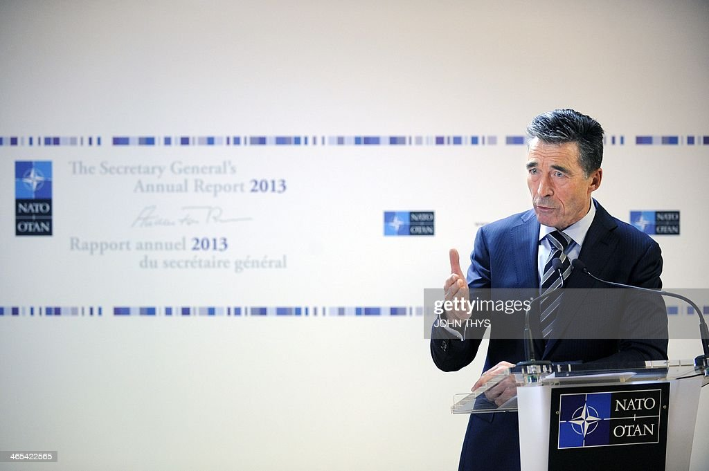 Secretary-General of the North Atlantic Treaty Organization (NATO) Anders Fogh Rasmussen delivers a speech during the release of NATO's annual report at the NATO headquarters in Brussels, on January 27, 2014.