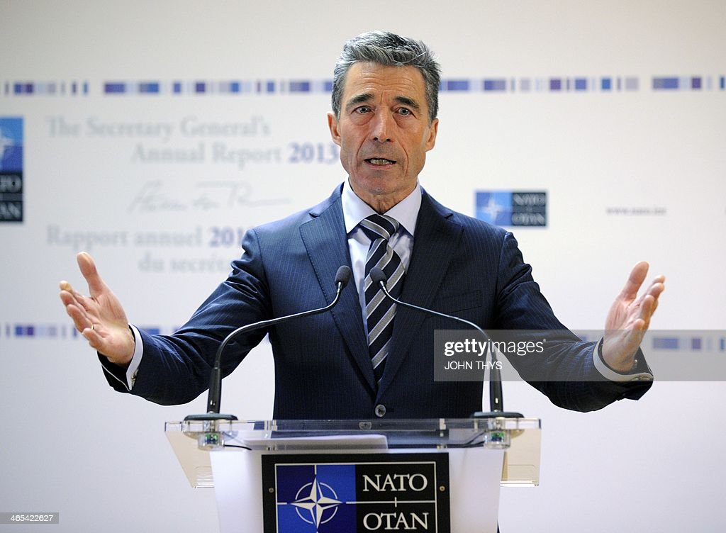 Secretary-General of the North Atlantic Treaty Organization (NATO) Anders Fogh Rasmussen delivers a speech during the release of NATO's annual report at the NATO headquarters in Brussels, on January 27, 2014. AFP PHOTO / JOHN THYS