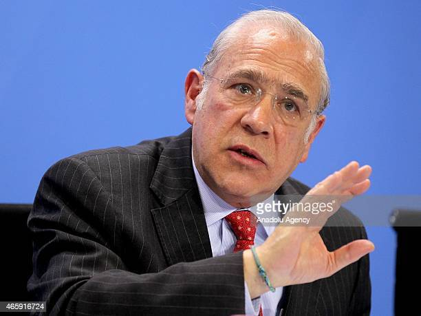 SecretaryGeneral of the Organisation for Economic Cooperation and Development Jose Angel Gurria attends a press conference after a meeting with...