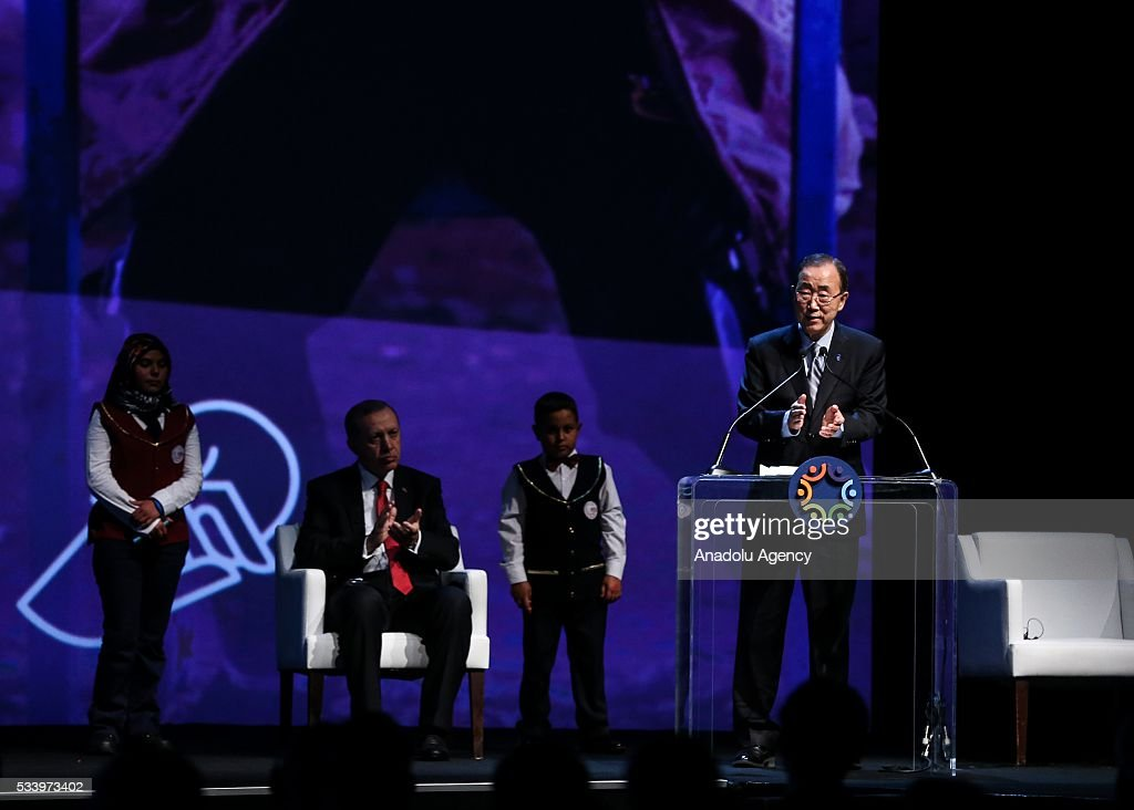 Secretary-General of the United Nations Ban Ki-moon delivers a speech as President of Turkey Recep Tayyip Erdogan listens to him during the closing ceremony of World Humanitarian Summit at Istanbul Congress Center, in Istanbul, Turkey on May 24, 2016.