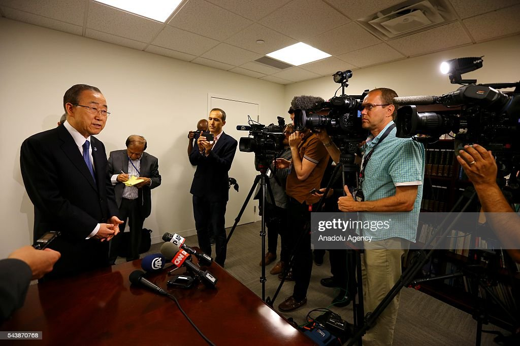 Secretary-General of the United Nations, Ban Ki-moon makes a statement to the media after signing book of condolences during his visit to permanent mission of Turkey to the United Nations following the Istanbul Ataturk Airport terror attack, in New York, USA on June 30, 2016.