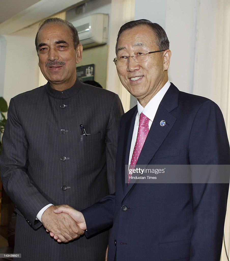 Secretary-General of the United Nations Ban Ki-moon meets with Union Health and Family Welfare Minister <a gi-track='captionPersonalityLinkClicked' href=/galleries/search?phrase=Ghulam+Nabi+Azad&family=editorial&specificpeople=772783 ng-click='$event.stopPropagation()'>Ghulam Nabi Azad</a> on April 26, 2012 in New Delhi, India. India is expected to discuss permanent seat on the UN security council amog other issues.