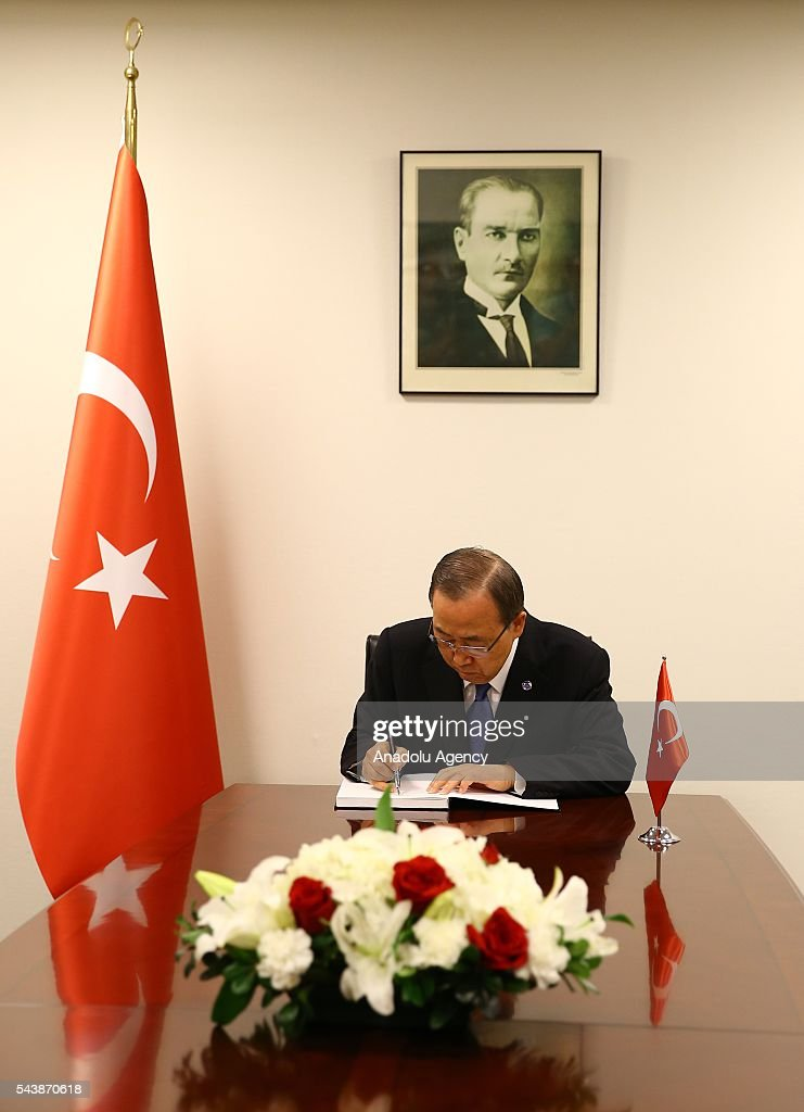 Secretary-General of the United Nations, Ban Ki-moon signs book of condolences during his visit to permanent mission of Turkey to the United Nations following the Istanbul Ataturk Airport terror attack, in New York, USA on June 30, 2016.