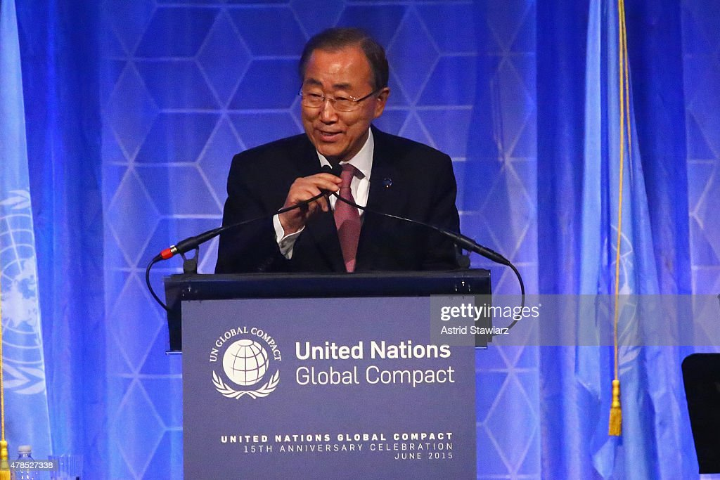 Secretary-General of the United Nations <a gi-track='captionPersonalityLinkClicked' href=/galleries/search?phrase=Ban+Ki-moon&family=editorial&specificpeople=206144 ng-click='$event.stopPropagation()'>Ban Ki-moon</a> speaks onstage during the United Nations Global Compact 15TH Anniversary Celebration at Cipriani 42nd Street on June 25, 2015 in New York City.