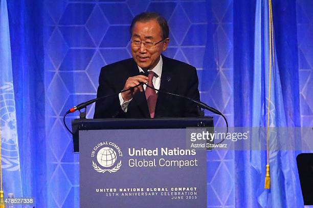 SecretaryGeneral of the United Nations Ban Kimoon speaks onstage during the United Nations Global Compact 15TH Anniversary Celebration at Cipriani...
