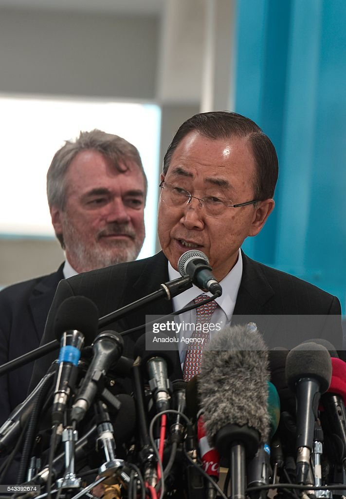 Secretary-General of the United Nations Ban Ki-moon speaks to media during his visit at a primary school belonging to The United Nations Relief and Works Agency for Palestine Refugees' (UNRWA) in Gaza City, Gaza on June 28, 2016.