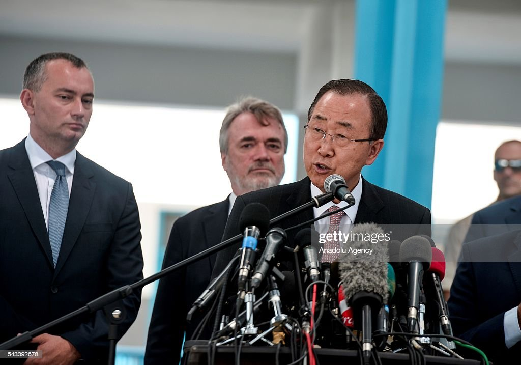 Secretary-General of the United Nations Ban Ki-moon (R) speaks to media during his visit at a primary school belonging to The United Nations Relief and Works Agency for Palestine Refugees' (UNRWA) in Gaza City, Gaza on June 28, 2016.
