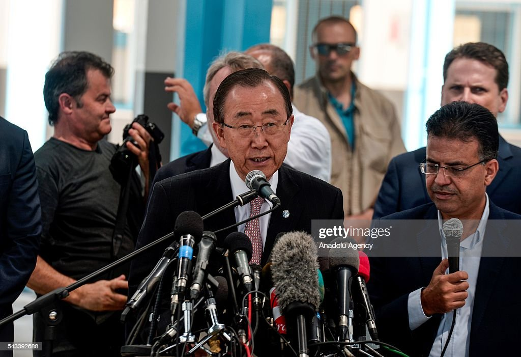 Secretary-General of the United Nations Ban Ki-moon (C) speaks to media during his visit at a primary school belonging to The United Nations Relief and Works Agency for Palestine Refugees' (UNRWA) in Gaza City, Gaza on June 28, 2016.