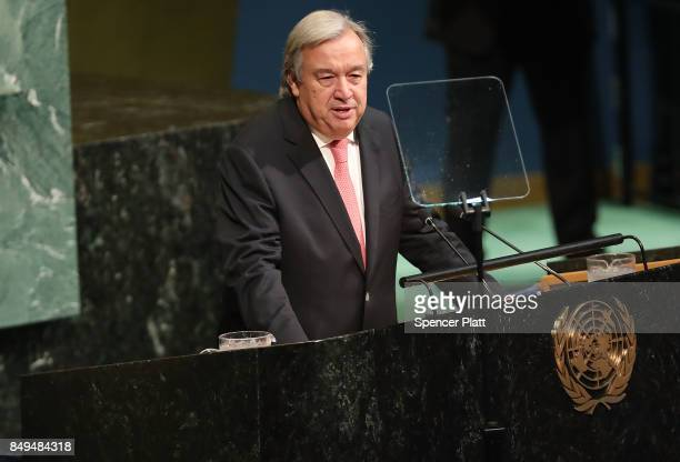 SecretaryGeneral of the United Natons Antonio Guterres speaks to world leaders at the 72nd United Nations General Assembly at UN headquarters in New...