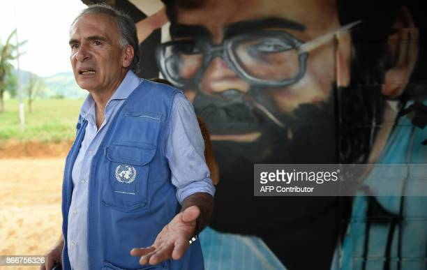 UN SecretaryGeneral's Special Representative for Colombia and Head of the UN Mission to Colombia Jean Arnault visits is seen at an unarmed zone known...