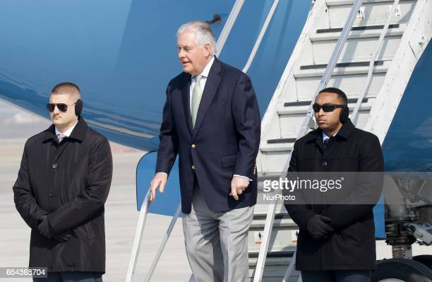 US Secretay of State Rex Tillerson arrives at military Osan airbase in South Korea Twoday visit aimed at discussing ways to strengthen bilateral...