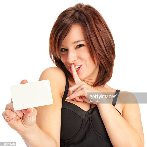 Secretive Young Woman with Blank Credit Card