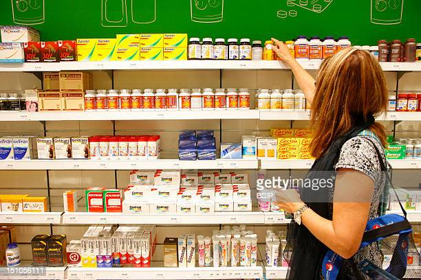 Section 'Analgesics' In A Drugstore In Dubai In The United Arab Emirates