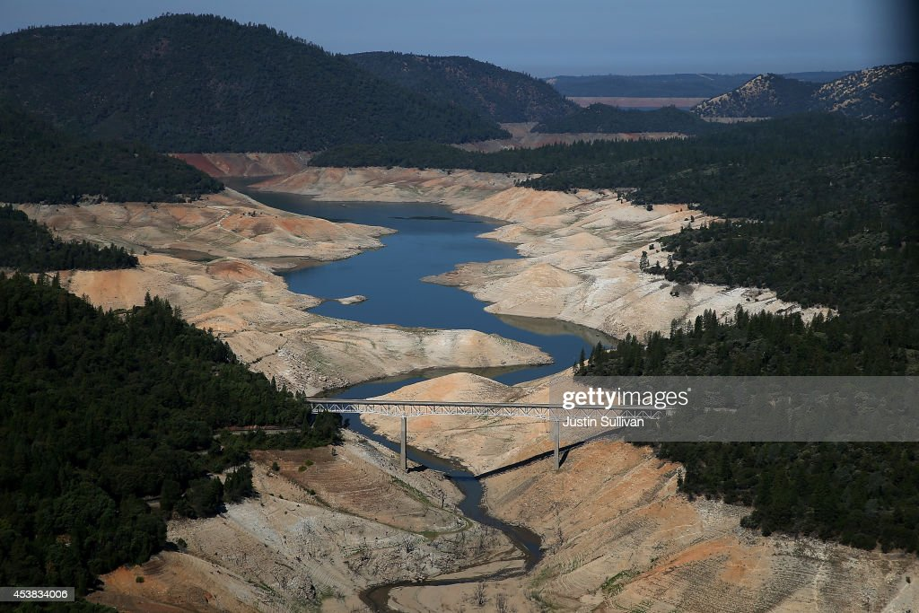 A section of Lake Oroville is seen nearly dry on August 19, 2014 in Oroville, California. As the severe drought in California continues for a third straight year, water levels in the State's lakes and reservoirs is reaching historic lows. Lake Oroville is currently at 32 percent of its total 3,537,577 acre feet.