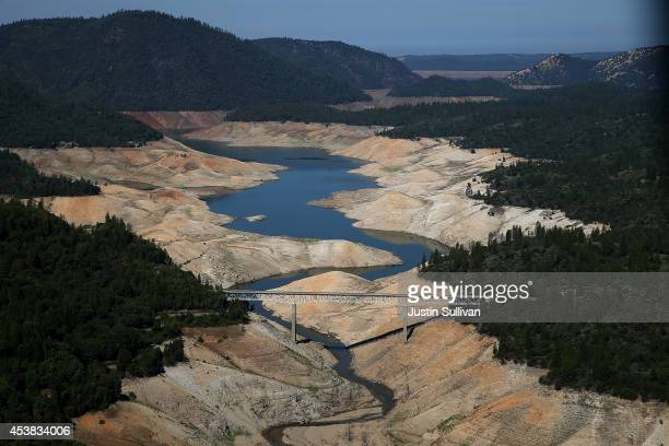 A section of Lake Oroville is seen nearly dry on August 19 2014 in Oroville California As the severe drought in California continues for a third...