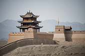A section of reconstructed wall at the Overhanging (Xuanbi) Great Wall, Jiayuguan