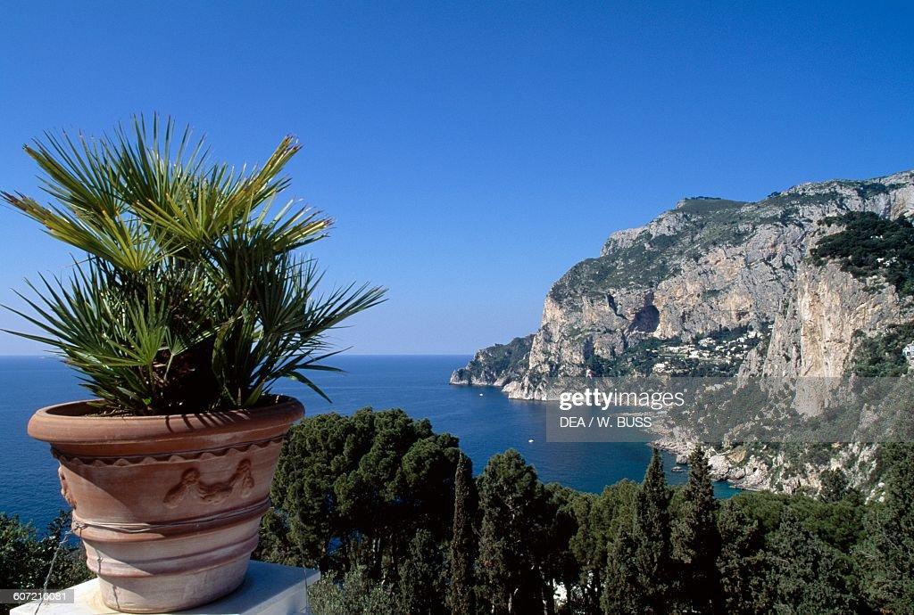 A section of rocky coastline on the Island of Capri Campania Italy
