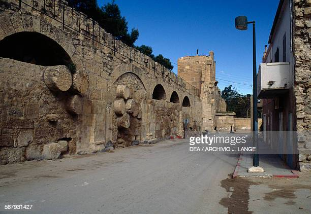A section of the Byzantine city walls with Roman column drums Tebessa Algeria