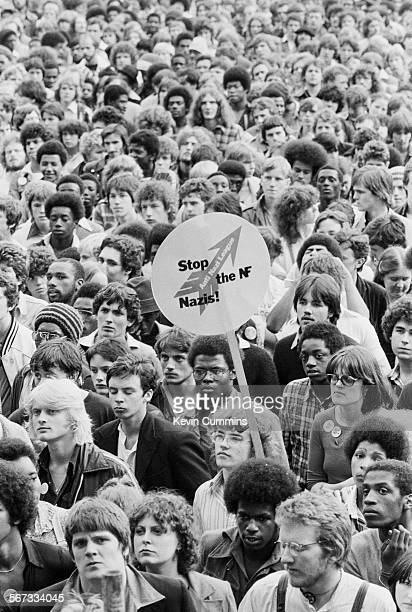 A section of the crowd at a concert by English roots reggae band Steel Pulse at the Northern Rock Against Racism Festival in Alexandra Park...
