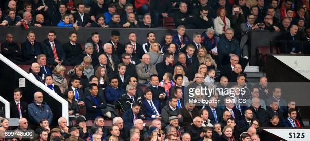 Section of the crowd at Old Trafford including Ashley Young Bastian Schweinsteiger Adnan Januzaj Jamie Vardy and Leicester City chairman Vichai...