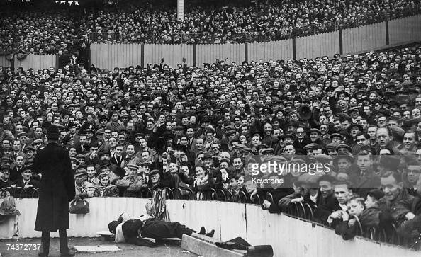 A section of the crowd at White Hart Lane London who watched the home sideTottenham Hotspur play Leicester City in an FA Cup fifth round tie 7th...