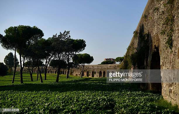 THUBURN A section of the Felice aqueduct stands in the Aqueducts park in Rome on October 22 2013 A group of speleologists is completing the first...
