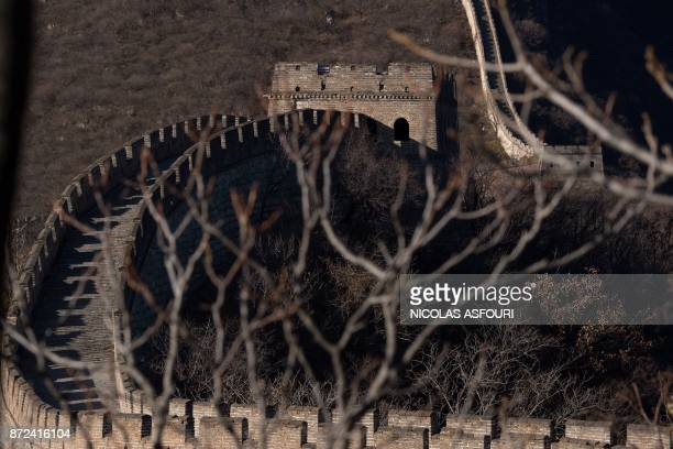 A section of the Great Wall of China is closed off to tourists ahead of the arrival of US First Lady Melania Trump on the outskirts of Beijing on...