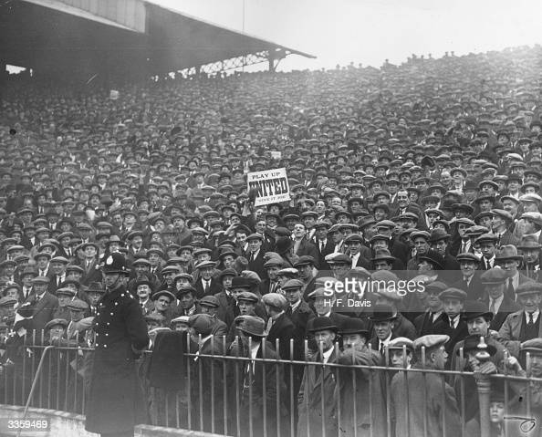 A section of the huge crowd at the FA Cup semifinal between Manchester City v Manchester United at Hillsborough Stadium Sheffield Manchester City...