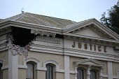 A section of the Napa County Court house is seen damaged following a reported 60 earthquake on August 24 2014 in Napa California A 60 earthquake...