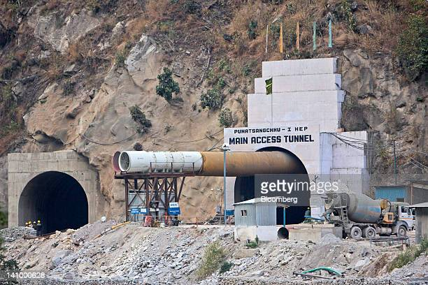 A section of the Punatsangchhu hydroelectric power project stands under construction in Wangdue Bhutan on Saturday Feb 11 2012 Bhutan with a...