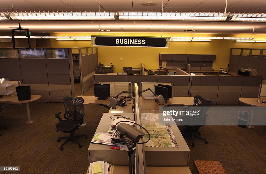 A section of the Rocky Mountain News newsroom sits empty on February 27, 2009 in Denver, Colorado. Friday's edition was the last for the nearly 150-year-old daily, Colorado's oldest newspaper. The owner E.W. Scripps Co. announced Thursday that the paper was closing down after efforts to sell the money-losing newspaper failed.