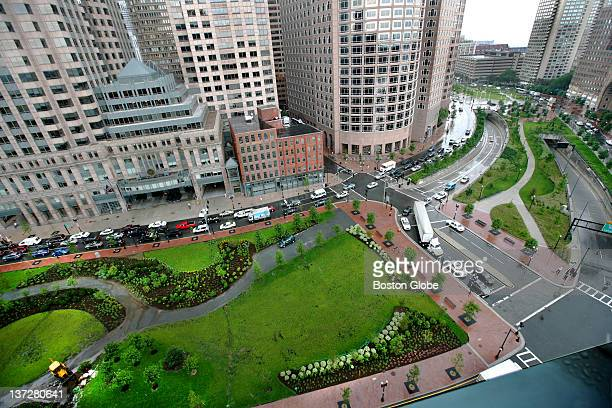 Section of the Rose Kennedy Greenway from Independence Wharf north towards Harbor Tower and the Aquarium in Boston on Wednesday July 2 2008