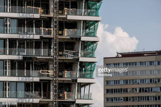 A section of the 'V Tower' luxury residential apartment block stands in the Pankrac district of Prague Czech Republic on Tuesday July 18 2017 The...